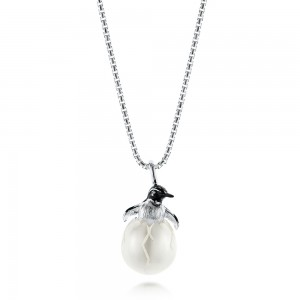 Penguin Carved Fresh Water Pearl Pendant