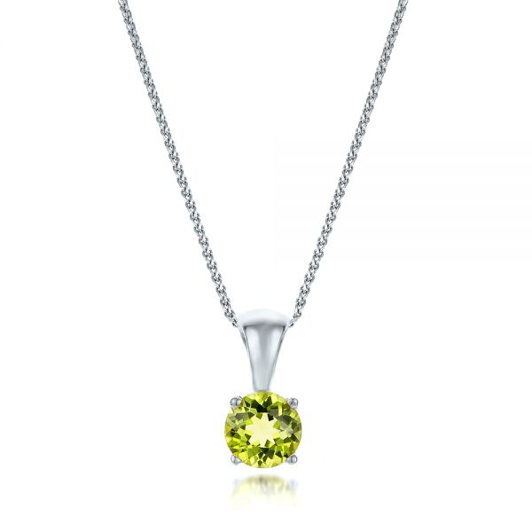 18k White Gold 18k White Gold Peridot Pendant - Three-Quarter View -  100963