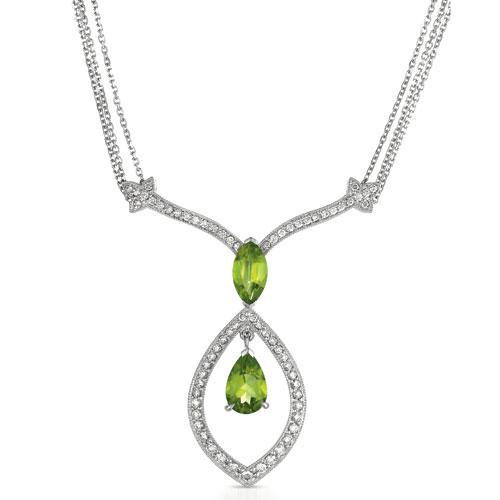 Peridot and Diamond Pendant - Vanna K - 3/4 View