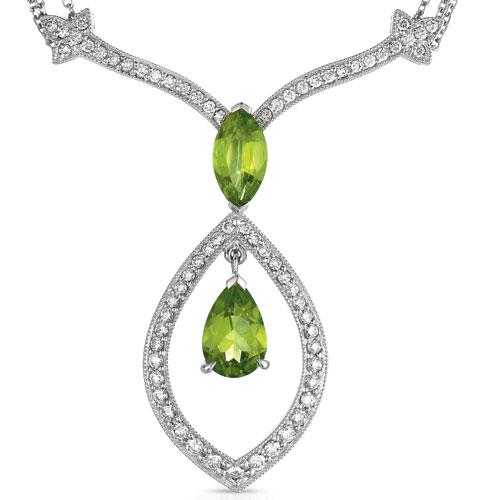 Peridot and Diamond Pendant - Vanna K - Laying View