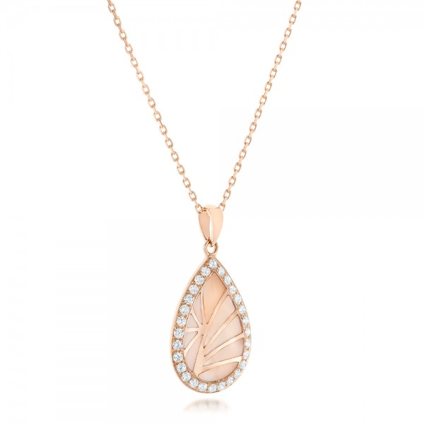 Pink Mother of Pearl and Diamond Venus Mini Pendant - Laying View