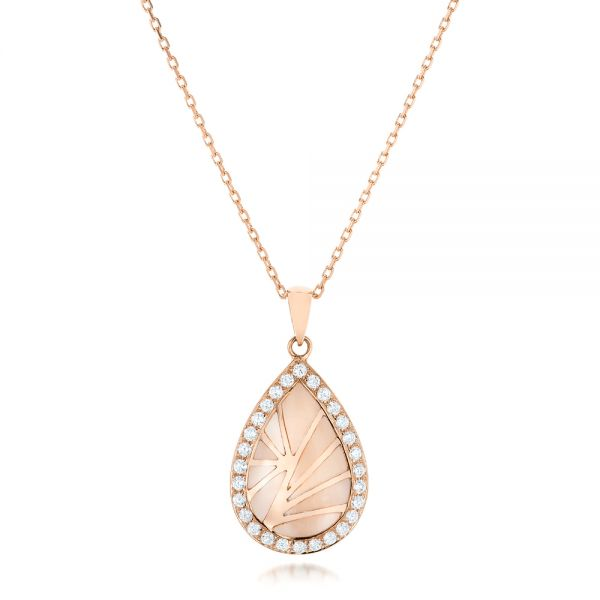 Pink Mother of Pearl and Diamond Venus Mini Pendant - Image