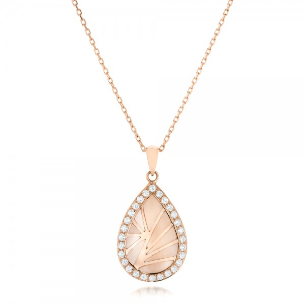 Pink Mother of Pearl and Diamond Venus Mini Pendant