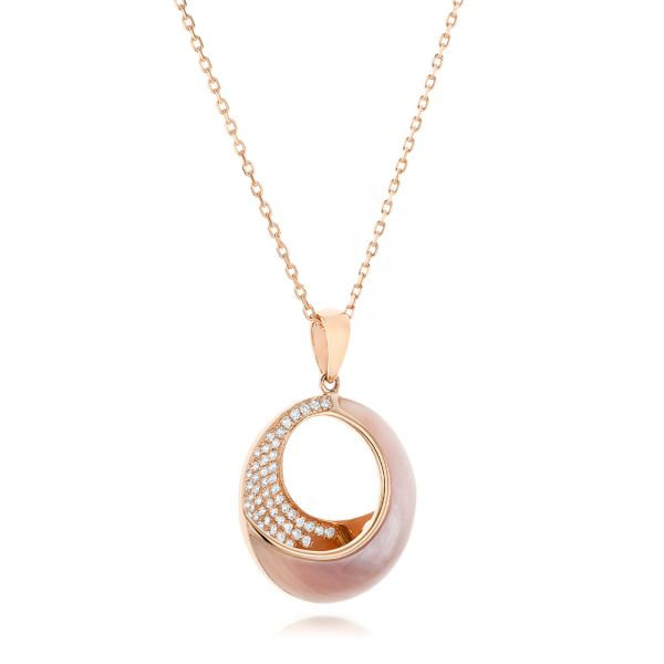 Pink Mother Of Pearl And Diamond Venus Twist Pendant - Flat View -
