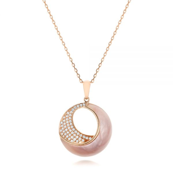 Pink Mother of Pearl and Diamond Venus Twist Pendant - Image