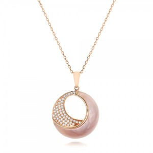 Pink Mother of Pearl and Diamond Venus Twist Pendant