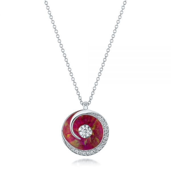 Pink Opal and Diamond Circle Pendant