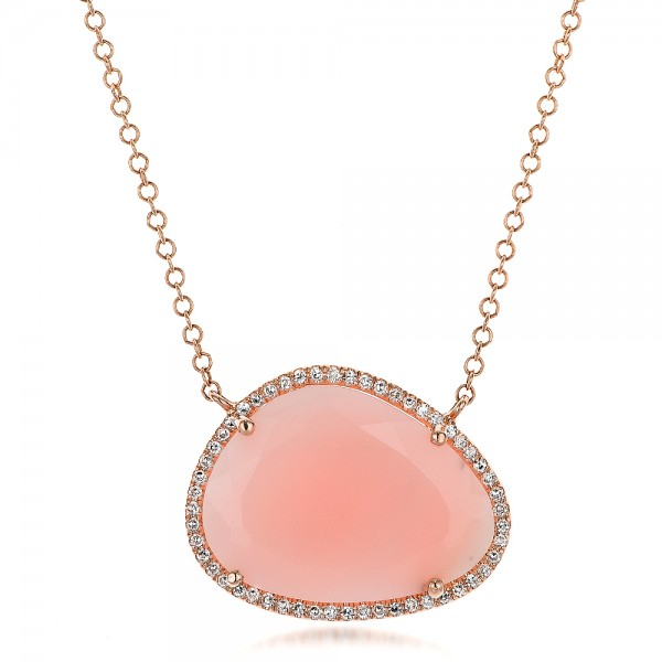Natural Pink Opal and Diamond Halo Necklace
