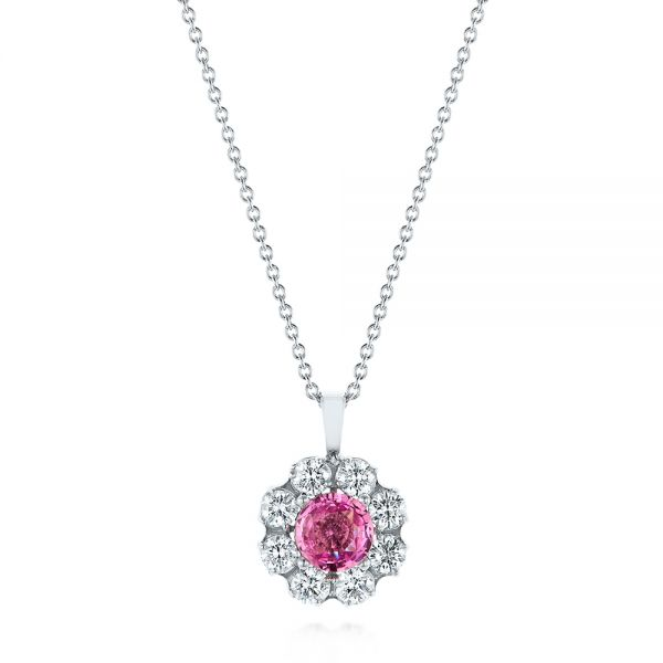 Pink Sapphire and Diamond Pendant - Image