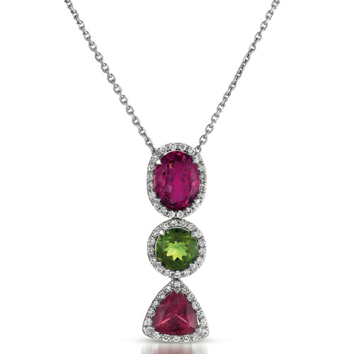 Pink Topaz, Garnet and Diamond Pendant - Vanna K