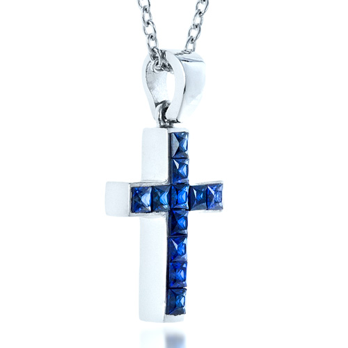 Princess Cut Blue Sapphire Cross Pendant