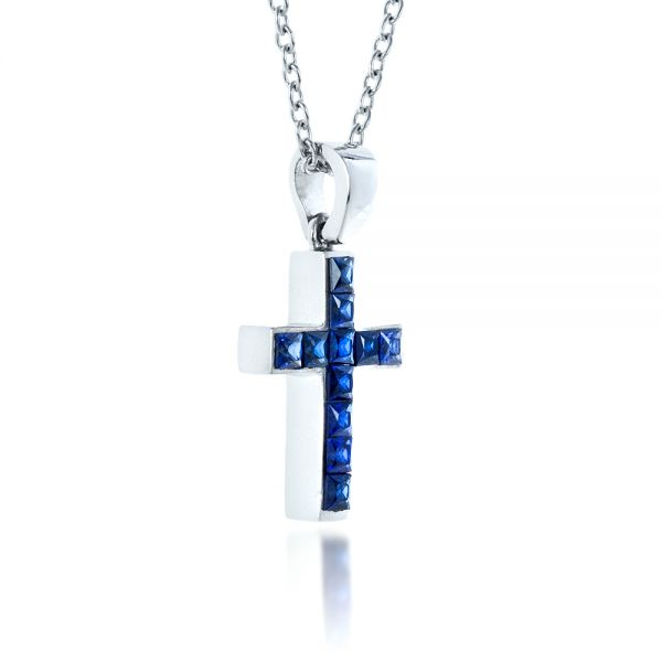 Princess Cut Blue Sapphire Cross Pendant - Flat View -  1323