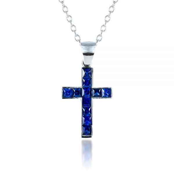 Princess Cut Blue Sapphire Cross Pendant - Front View -  1323