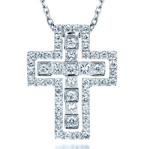 Princess Cut Diamond Cross Pendant