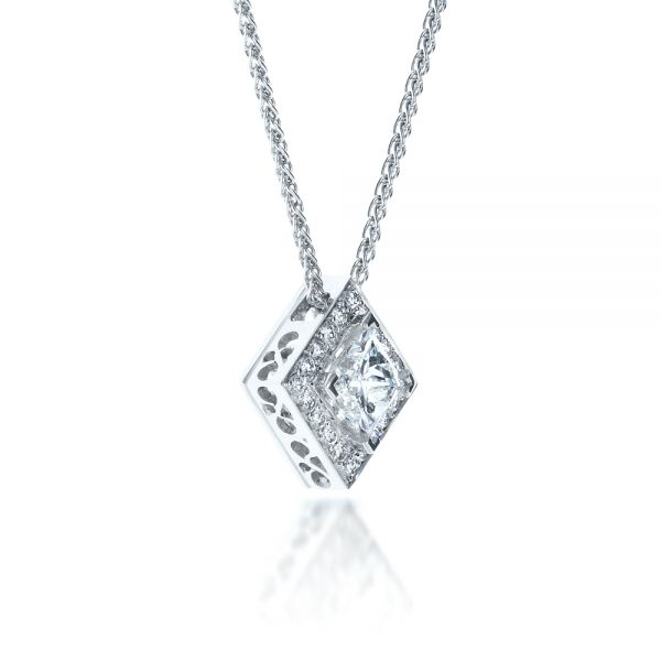 14K Gold Princess Cut Diamond Pendant - Flat View -  1332