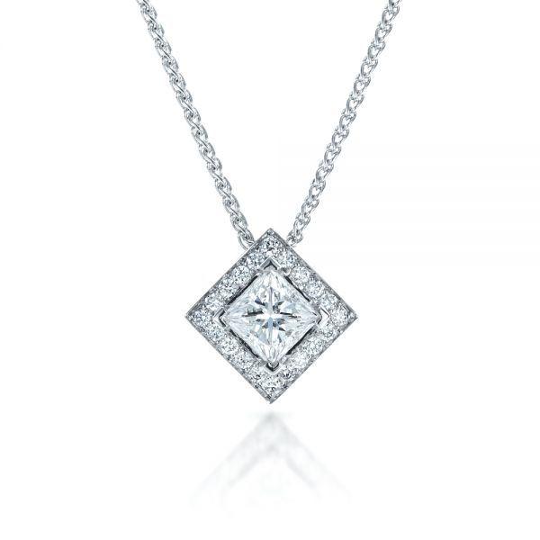 14K Gold Princess Cut Diamond Pendant - Front View -  1332