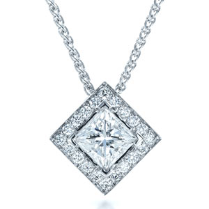 gold pendant diamond white princess esta cut