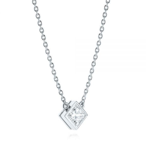 14k White Gold Princess Cut Diamond Solitaire Pendant - Flat View -  105078