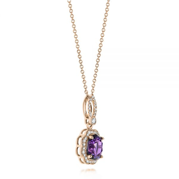 18k Rose Gold 18k Rose Gold Purple Sapphire And Diamond Pendant - Flat View -  103750