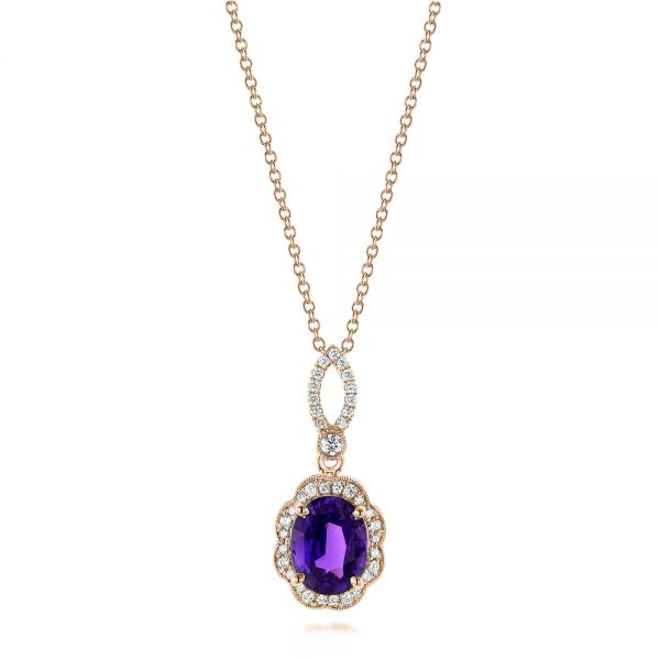 18k Rose Gold 18k Rose Gold Purple Sapphire And Diamond Pendant - Three-Quarter View -  103750