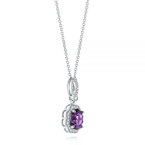 14k White Gold Purple Sapphire And Diamond Pendant - Flat View -  103750