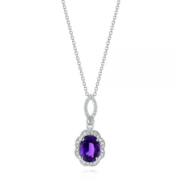 Purple Sapphire and Diamond Pendant - Image