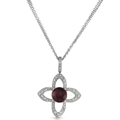 Red Tourmaline and Diamond Pendant - Vanna K - 3/4 View