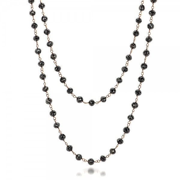 Rosary Black Diamond Necklace - Laying View