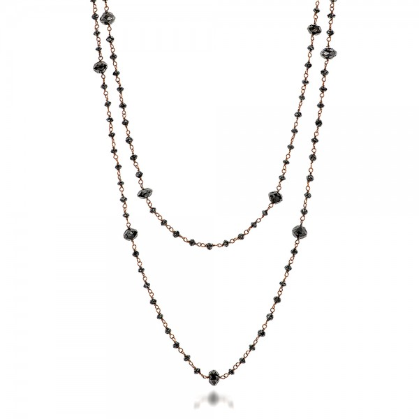 Rosary Black Diamond Necklace - Flat View -  100851 - Thumbnail