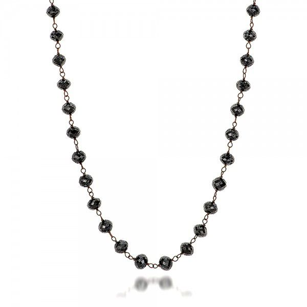 Rosary Black Diamond Necklace - Flat View -