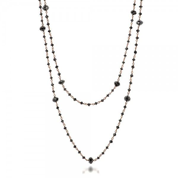 Rosary Black Diamond Necklace - Flat View -  100851