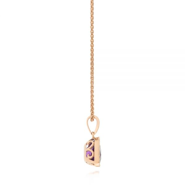 Rose Gold Amethyst Pendant - Side View -  103732 - Thumbnail