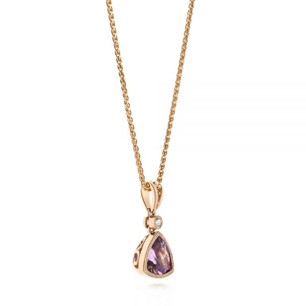 Rose Gold Amethyst and Diamond Pendant - Front View -  103733 - Thumbnail