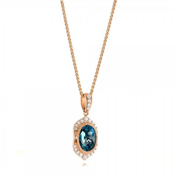Rose Gold Diamond and London Blue Topaz Pendant - Laying View