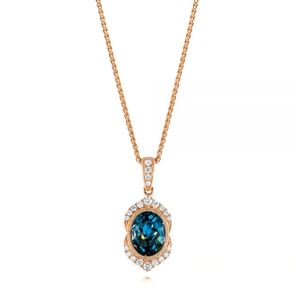 Rose Gold Diamond and London Blue Topaz Pendant