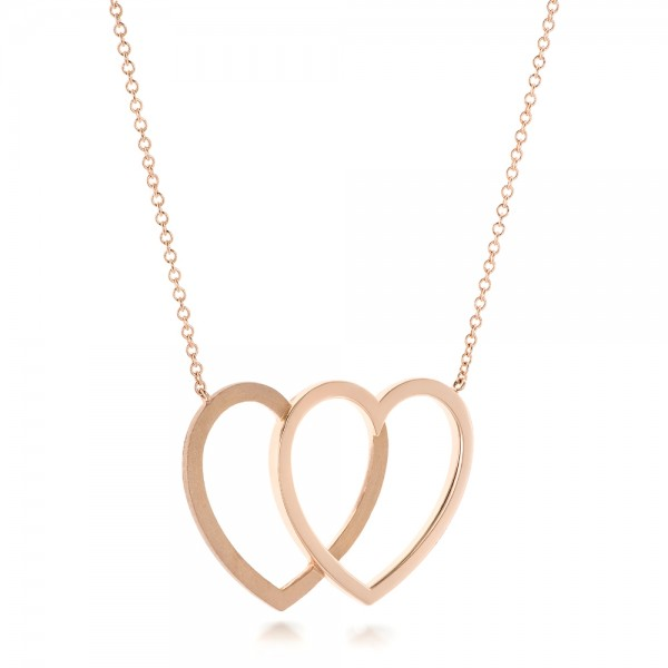 Rose Gold Hearts Pendant - Laying View