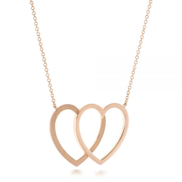 14k Rose Gold Hearts Pendant - Flat View -  102770