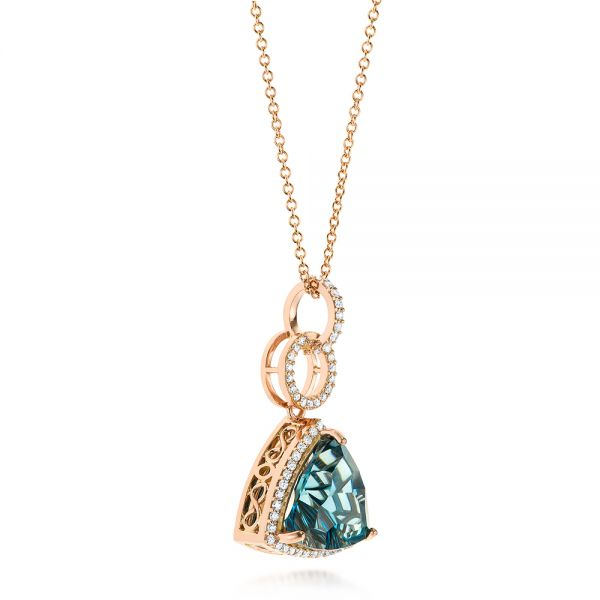 Rose Gold London Blue Topaz and Diamond Pendant - Flat View -  103616 - Thumbnail