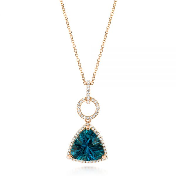 Rose Gold London Blue Topaz and Diamond Pendant - Image