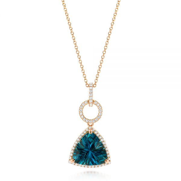 Rose Gold London Blue Topaz and Diamond Pendant