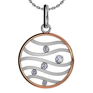 Rose Gold and White Gold Diamond Pendant