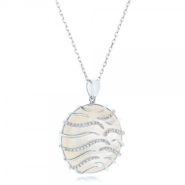White Mother of Pearl and Diamonds Luna Pendant