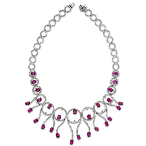Rubellite and Diamond Necklace - Vanna K - Image