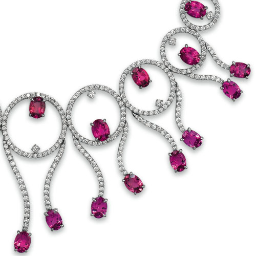 Rubellite and Diamond Necklace - Vanna K - Laying View