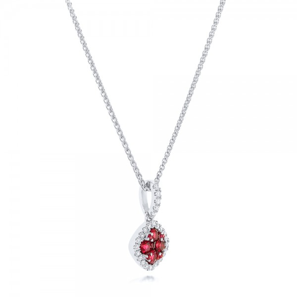 Ruby Cluster and Diamond Halo Pendant - Laying View