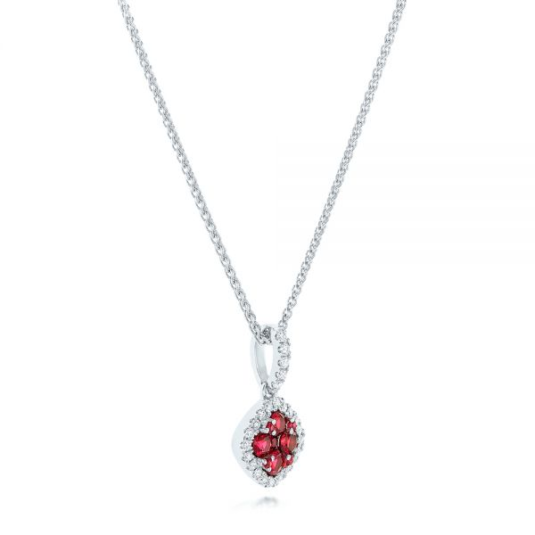 Ruby Cluster and Diamond Halo Pendant - Flat View -  102619 - Thumbnail