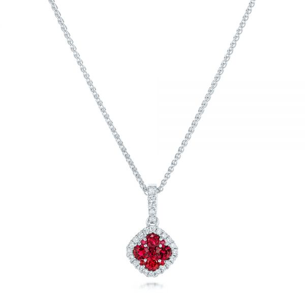 Ruby Cluster and Diamond Halo Pendant