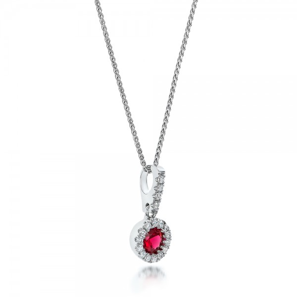 Ruby and Diamond Halo Pendant - Laying View