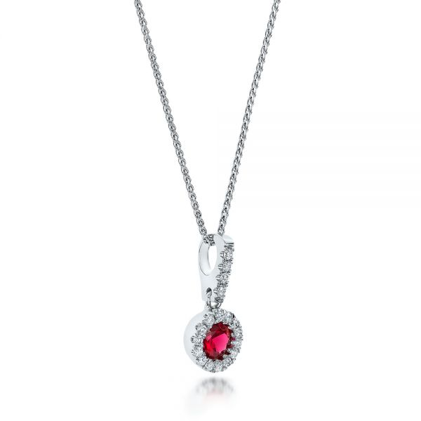 Ruby and Diamond Halo Pendant - Flat View -  100970 - Thumbnail
