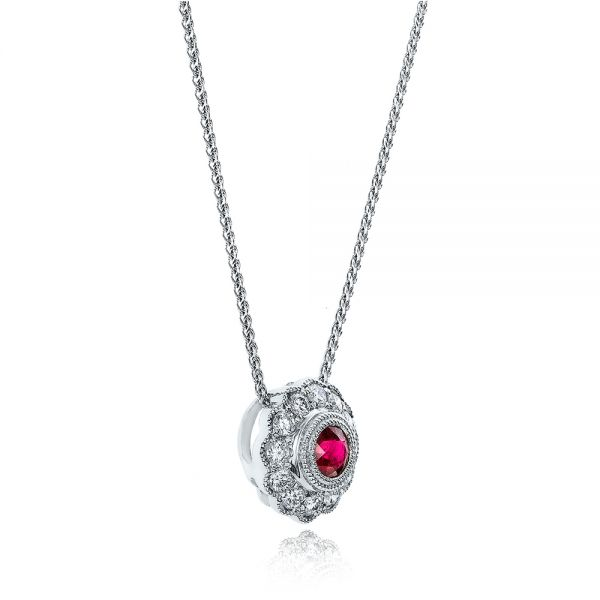 Ruby And Diamond Halo Pendant - Flat View -